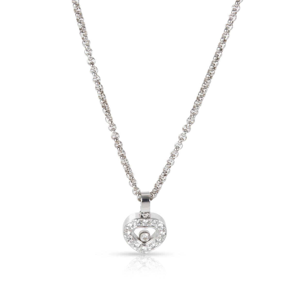 Chopard Happy Diamonds Heart Necklace in 18K White Gold 0.25 CTW