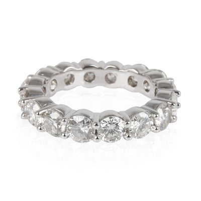 Round Cut Diamond Eternity Band in 18K White Gold 3.54 CTW