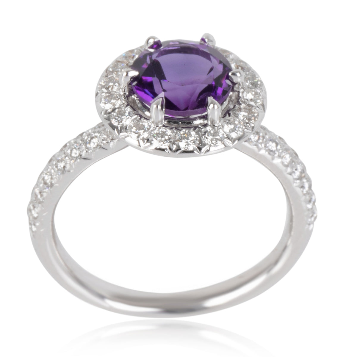 Kitty Halo Amethyst Diamond Ring in 18K White Gold Purple 0.53 CTW