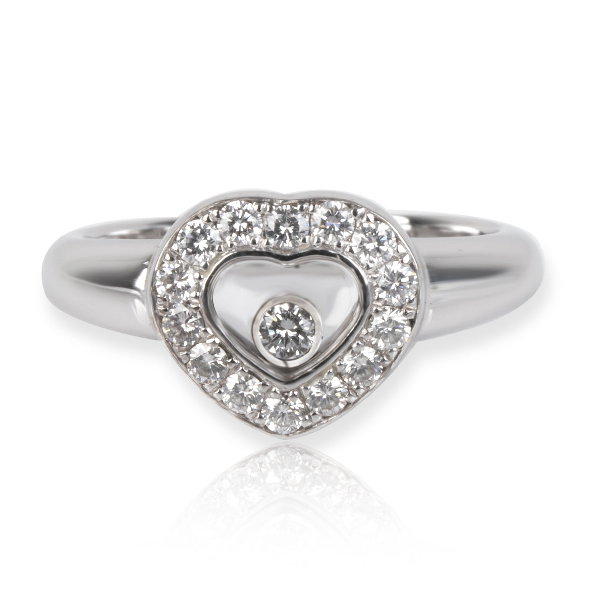 Chopard Happy Diamonds Heart Ring in 18K White Gold 0.33 CTW