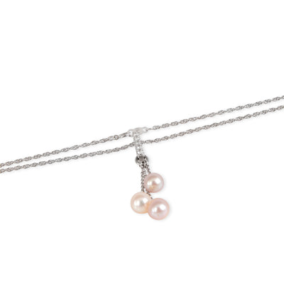 Diamond & Pink Pearl Drop Necklace in 14K White Gold 0.10 CTW
