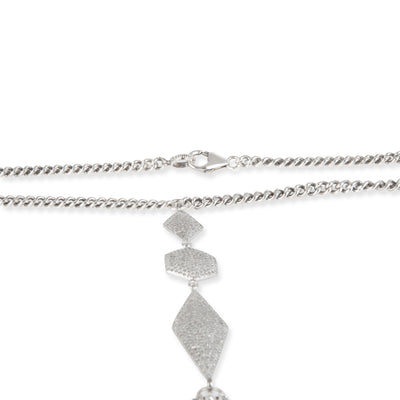Sheryl Lowe Curb Chain Fringe Diamond Necklace in  Sterling Silver 1.00 CTW