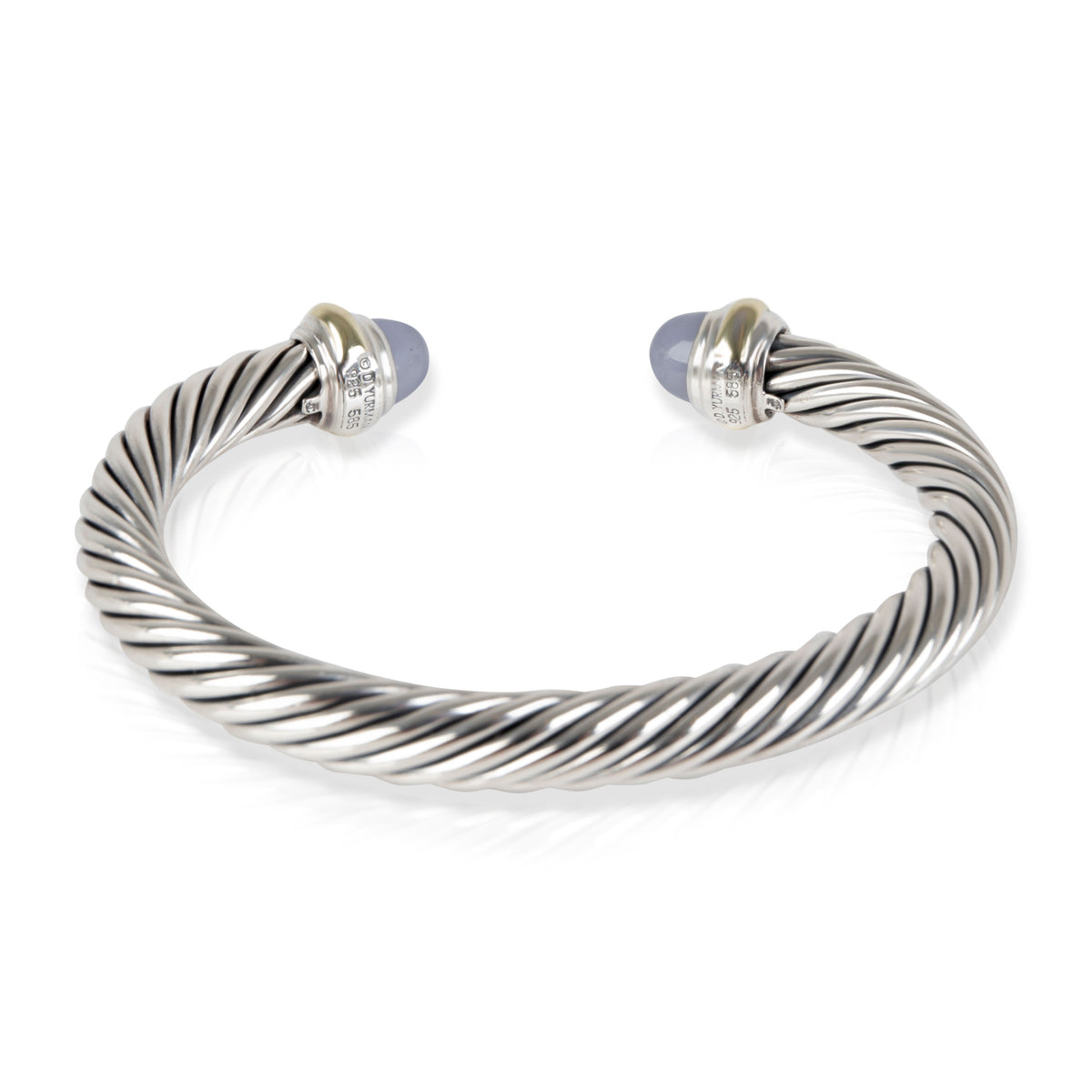 David Yurman Cable Chalcedony Cuff in 14K Yellow Gold/Sterling Silver