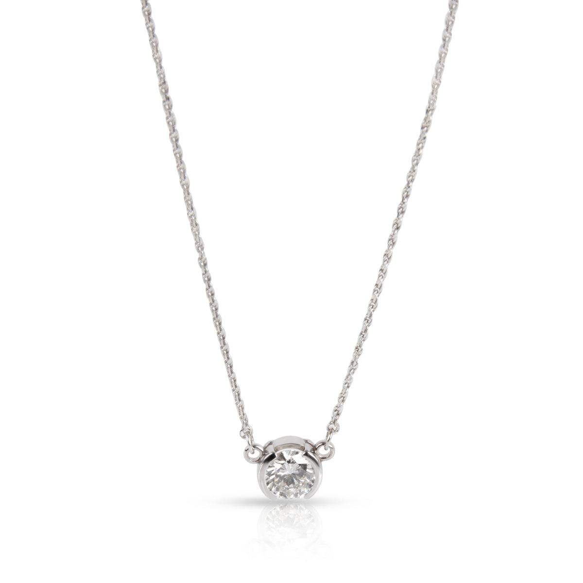 Bezel Set Solitaire Diamond Necklace in 14K White Gold EGL USA G SI2 1.01 CTW