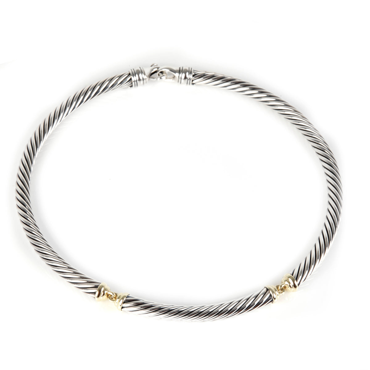 David Yurman Metro Cable Choker Necklace in 14K Yellow Gold/Sterling Silver