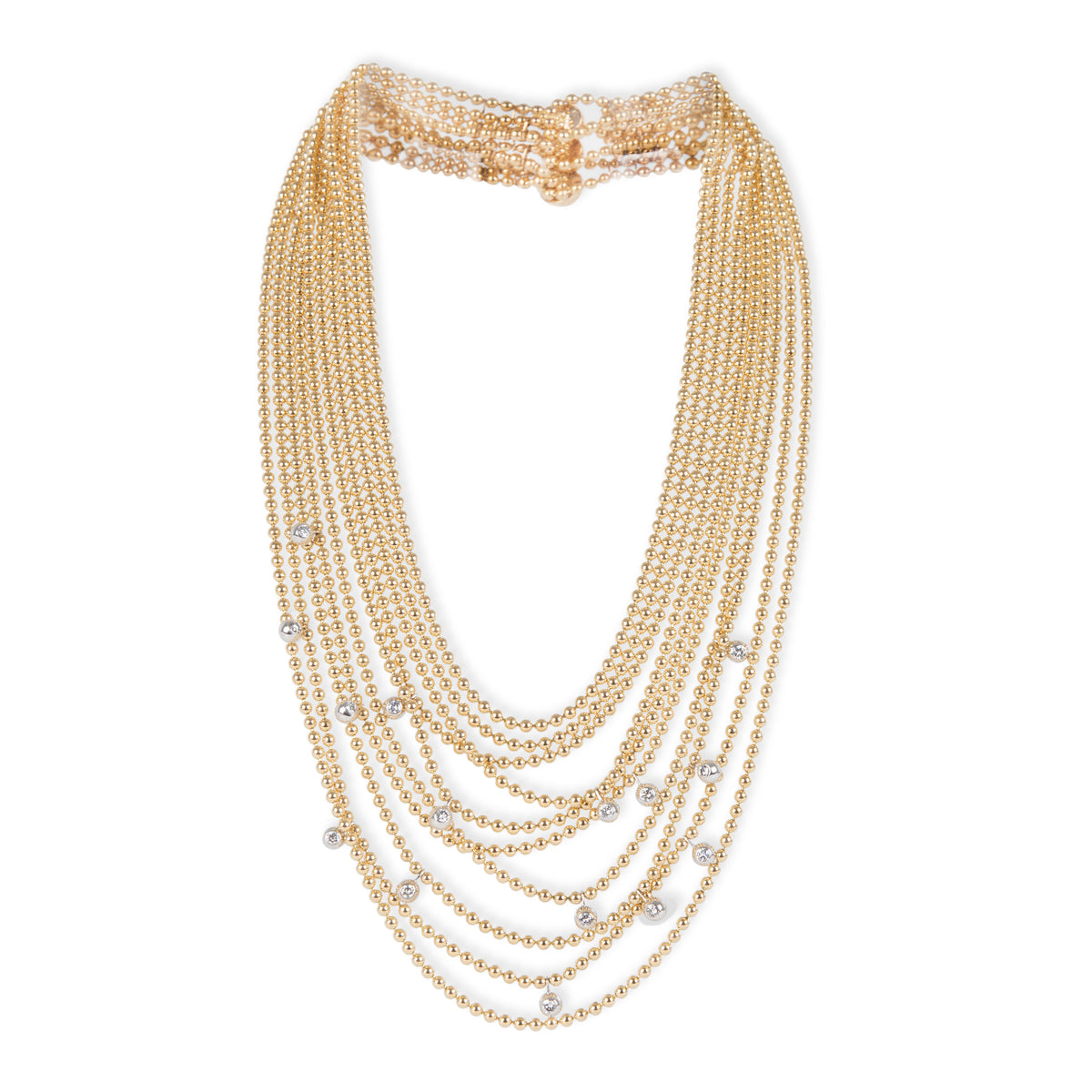 Cartier Diamond Draperie De Decollete Necklace in 18K 2 Tone Gold 0.6 CTW