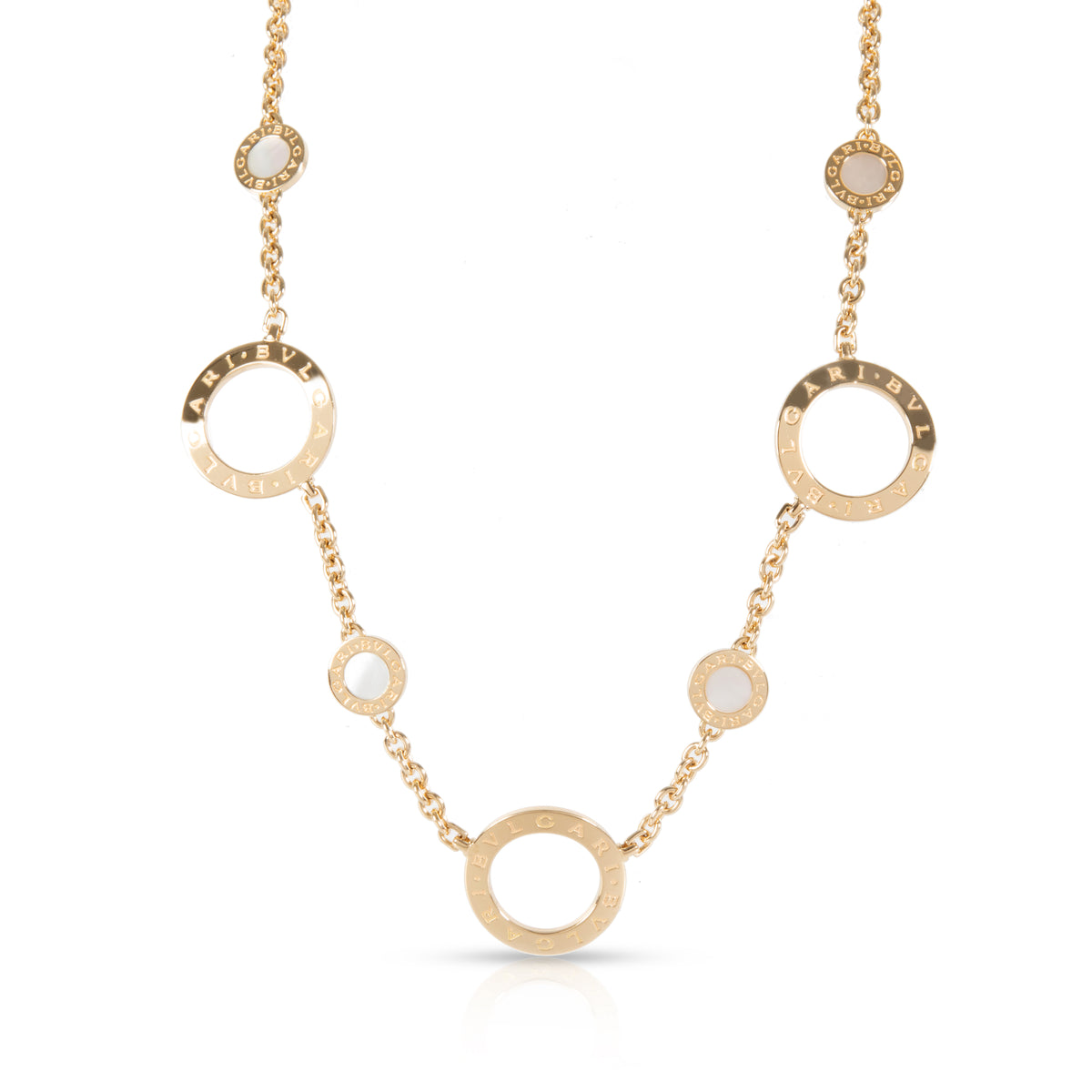 Bulgari Mother Of Pearl Station Necklace in 18KT Yellow Gold