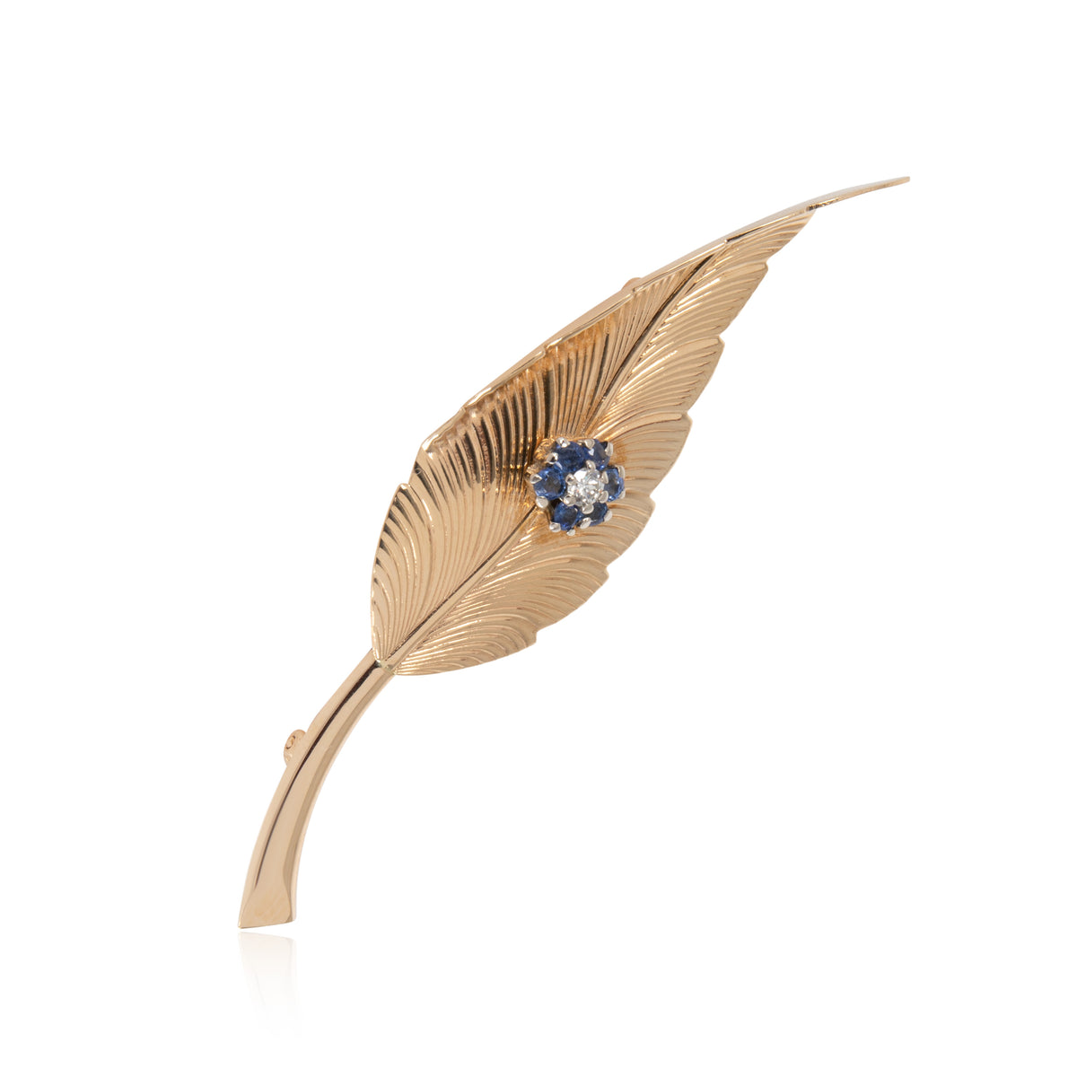 Tiffany & Co. Vintage Leaf Diamond Brooch in 14K Yellow Gold 0.03 CTW