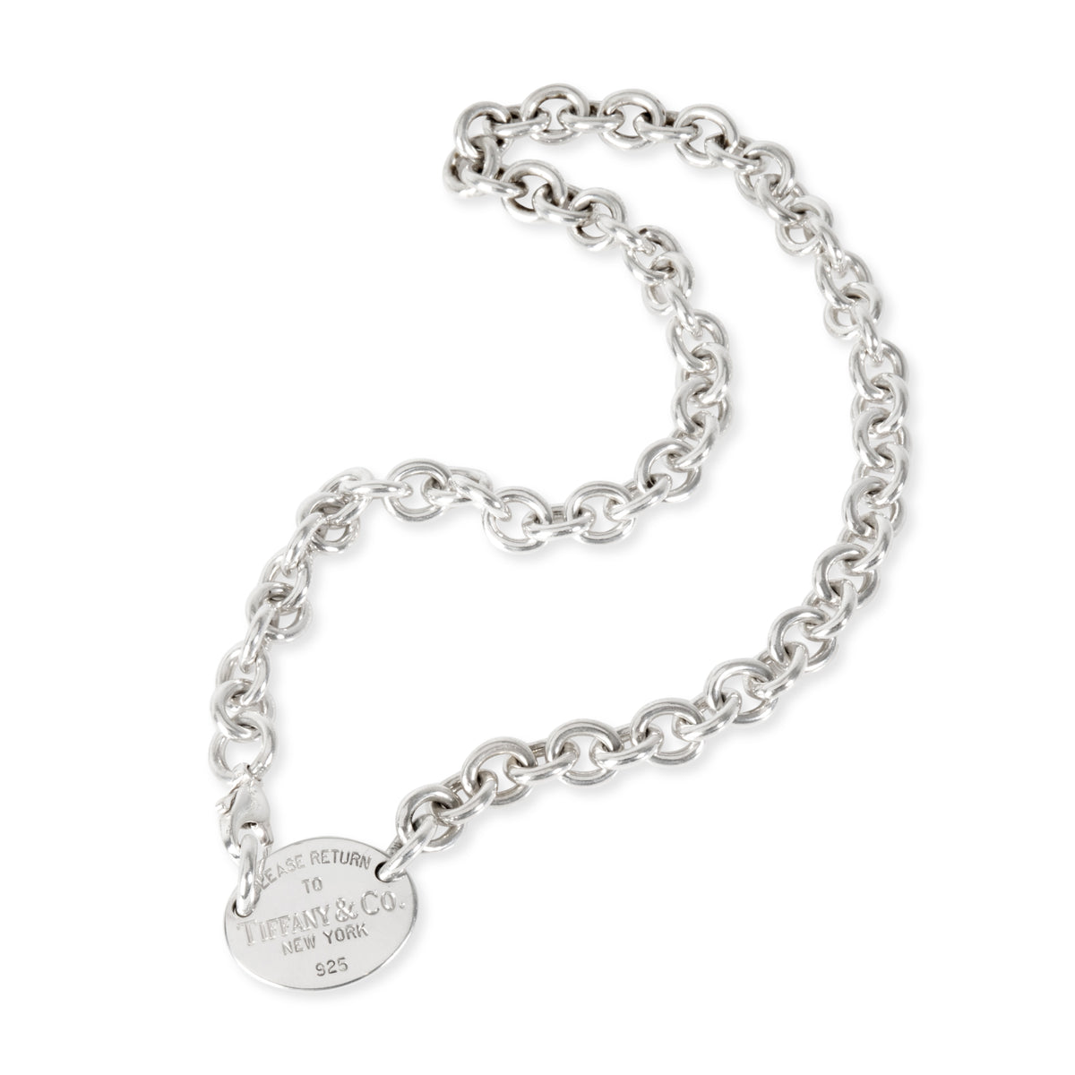 Tiffany & Co. Return to Tiffany Oval Tag Necklace in  Sterling Silver