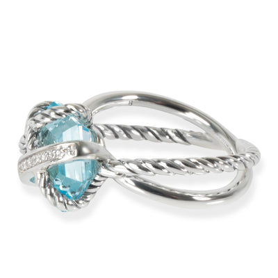 David Yurman Cable Wrap Blue Topaz Diamond Ring in Sterling Silver Blue 0.28 CTW
