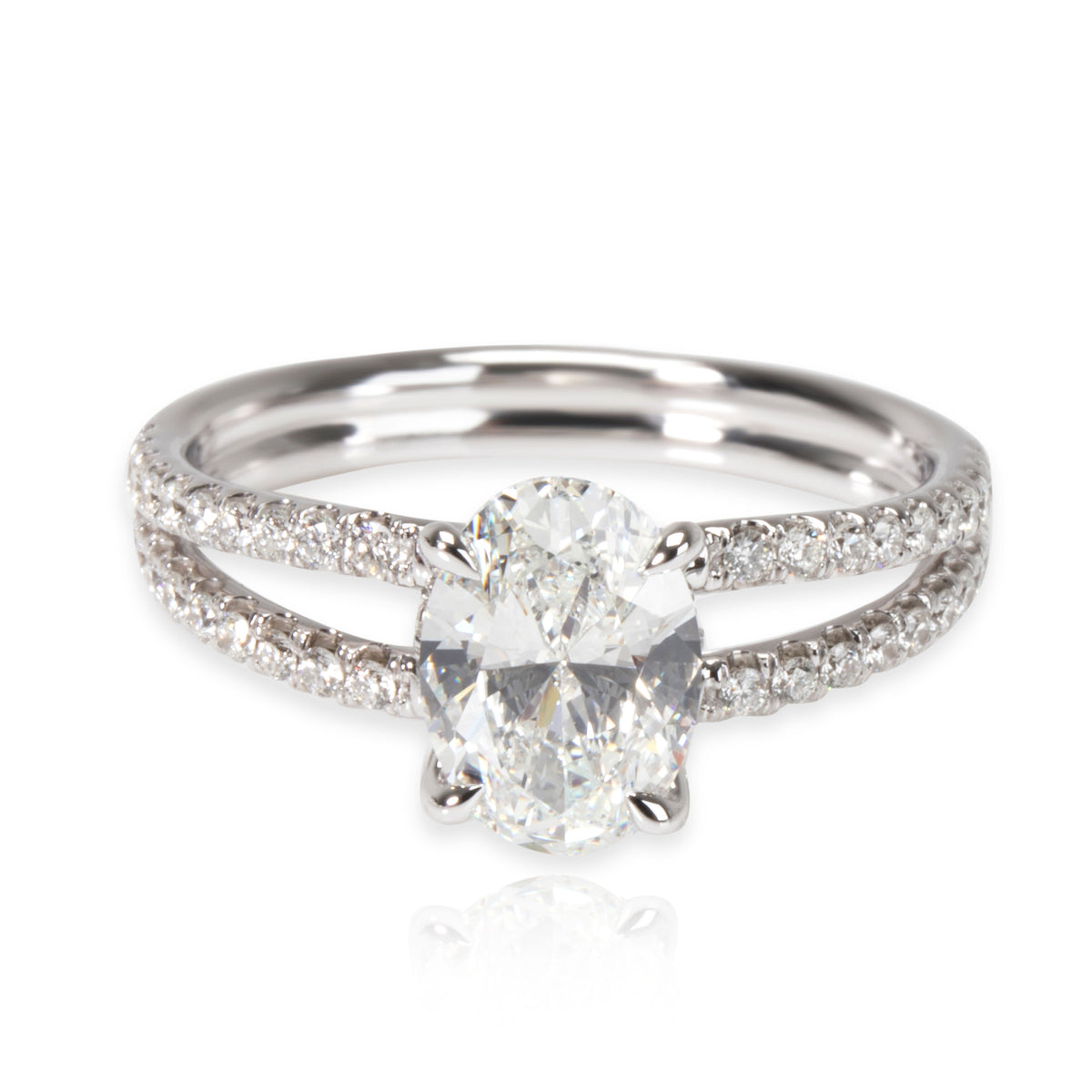 James Allen Oval Diamond Engagement Ring in 14K White Gold GIA H IF 1.34 CTW