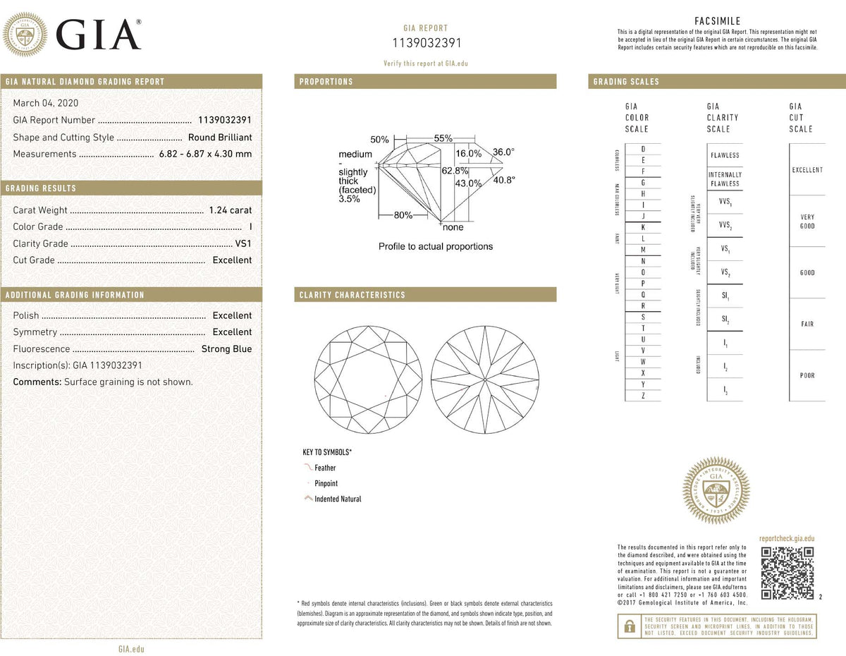 GIA Certified 1.24 Ct Round cut I VS1 Loose Diamond