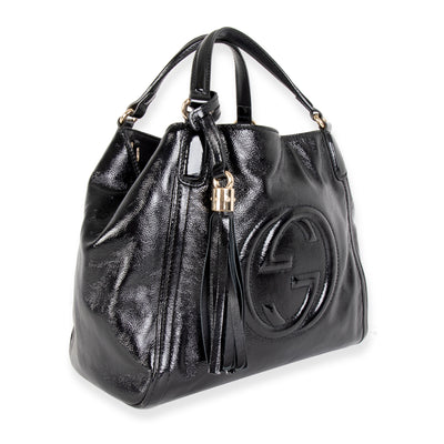 Gucci Black Patent Leather Small Soho Top Handle Bag