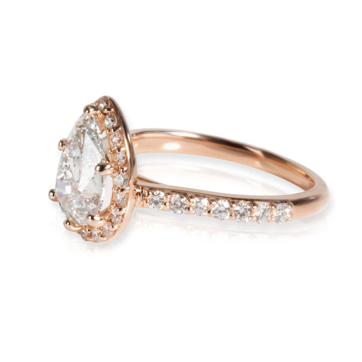 Brilliant Earth Pear Diamond Engagement Ring in 14K Rose Gold GIA F SI1 1.6 CTW
