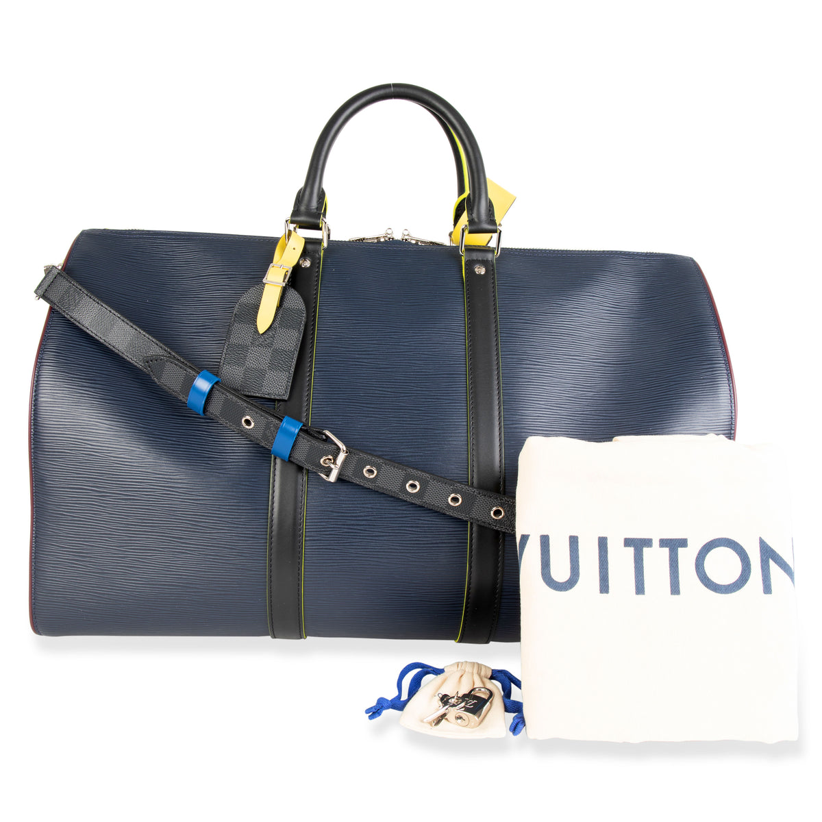 Louis Vuitton Marine Epi Leather Patchwork Graphite Keepall 50 Duffle Bag