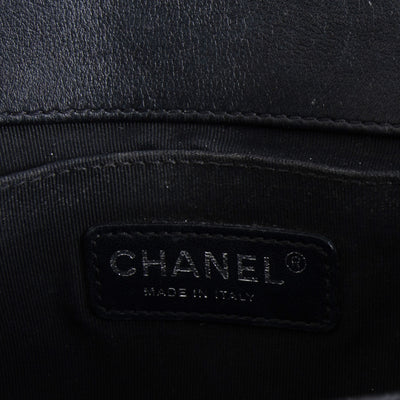 Chanel Black Patent Leather Quilted Old Medium Boy Bag