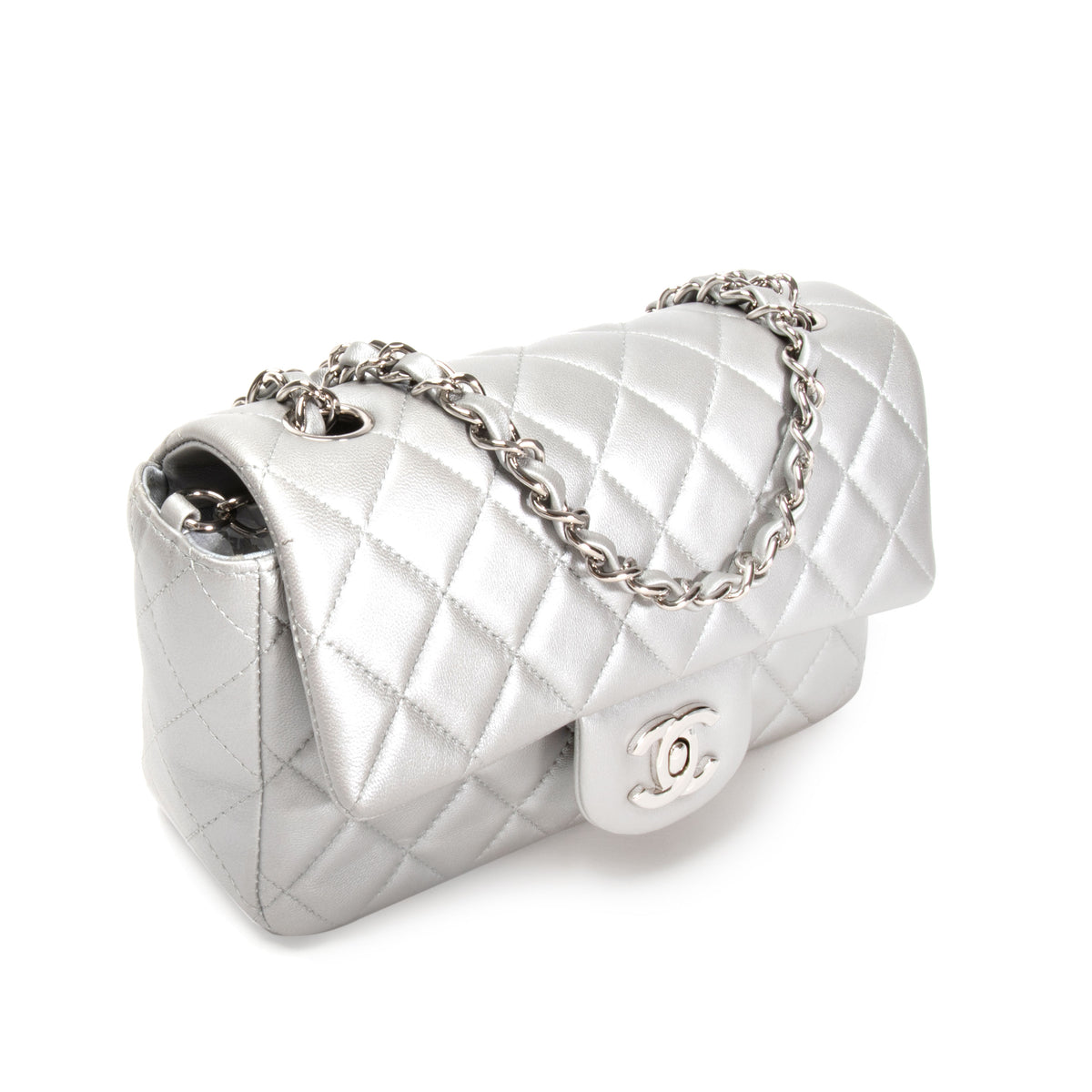 Chanel Silver Quilted Lambskin New Mini Classic Flap Bag