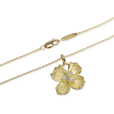 Tiffany & Co. Dogwood Flower Diamond Necklace in 18K Yellow Gold 0.10 CTW