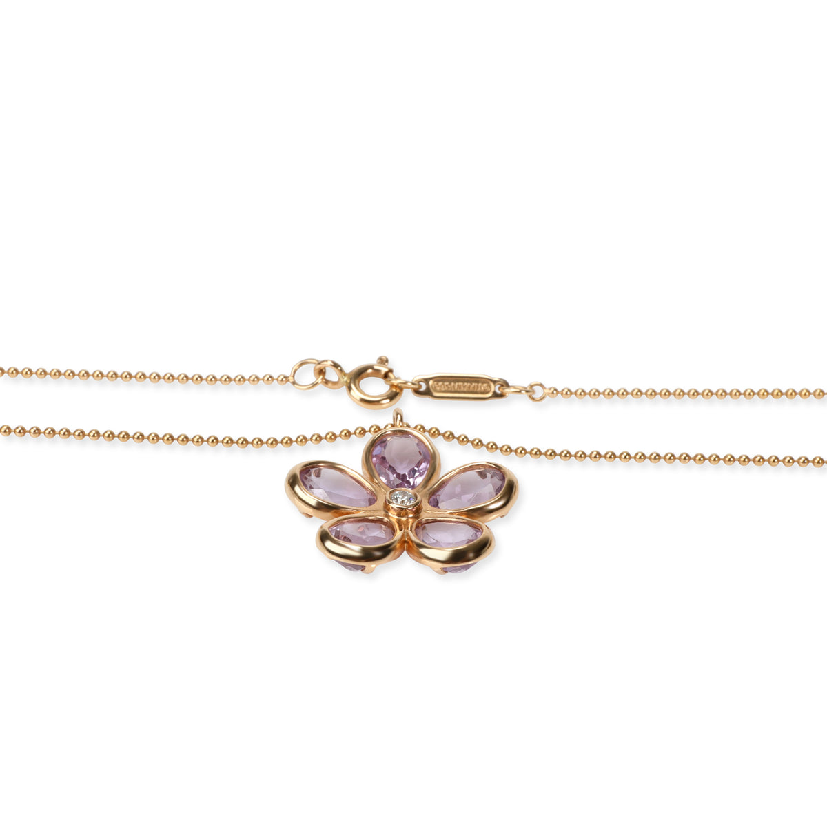 Tiffany & Co. Enchant Diamond Amethyst Necklace in 18K Rose Gold 0.02 CT