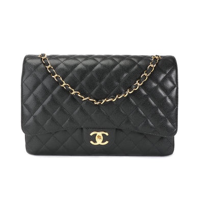Chanel Black Caviar Quilted Classic Maxi Double Flap Bag