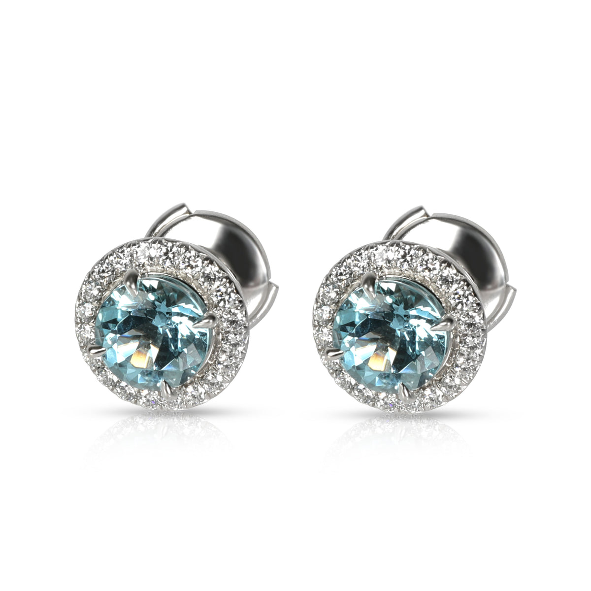 Tiffany & Co. Soleste Aquamarine Diamond Earrings in Platinum 0.20 CTW