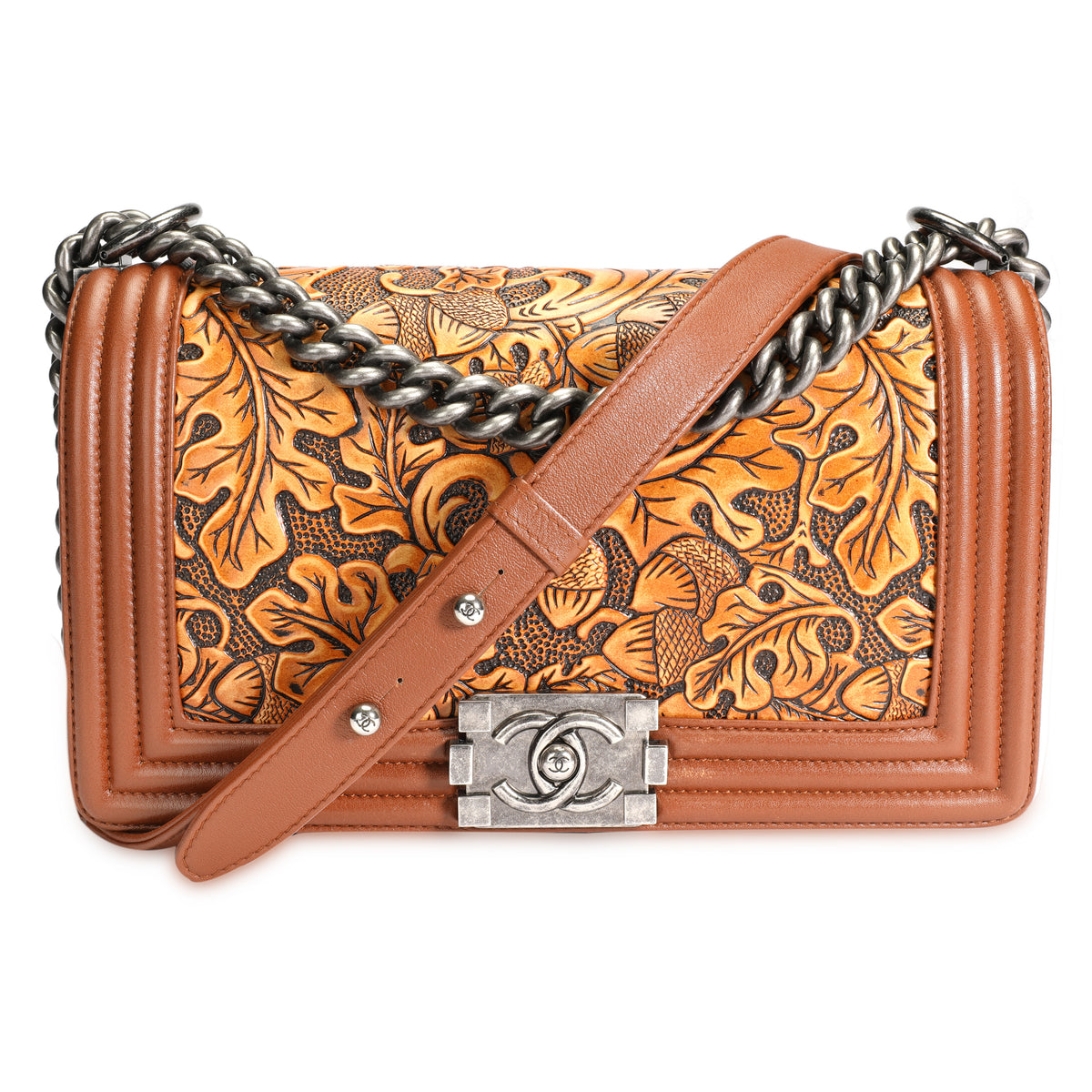 Chanel Brown Tooled Leather Cordoba Medium Boy Bag with Ruthenium Hardware