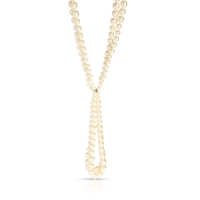 Chanel Simulated Glass Pearl Lariat Necklace