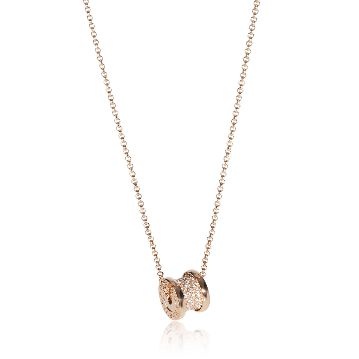 Bulgari B. Zero 1 Pave Diamond Necklace in 18K Rose Gold 0.31 CTW