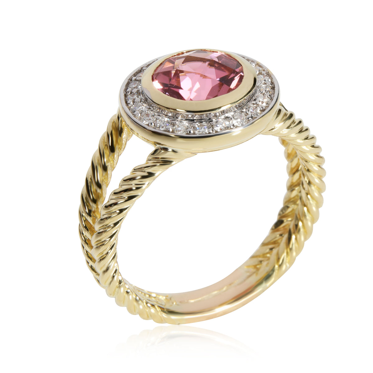 David Yurman Cable Ring with Diamonds & Tourmaline in 18K Yellow Gold 0.21 CTW
