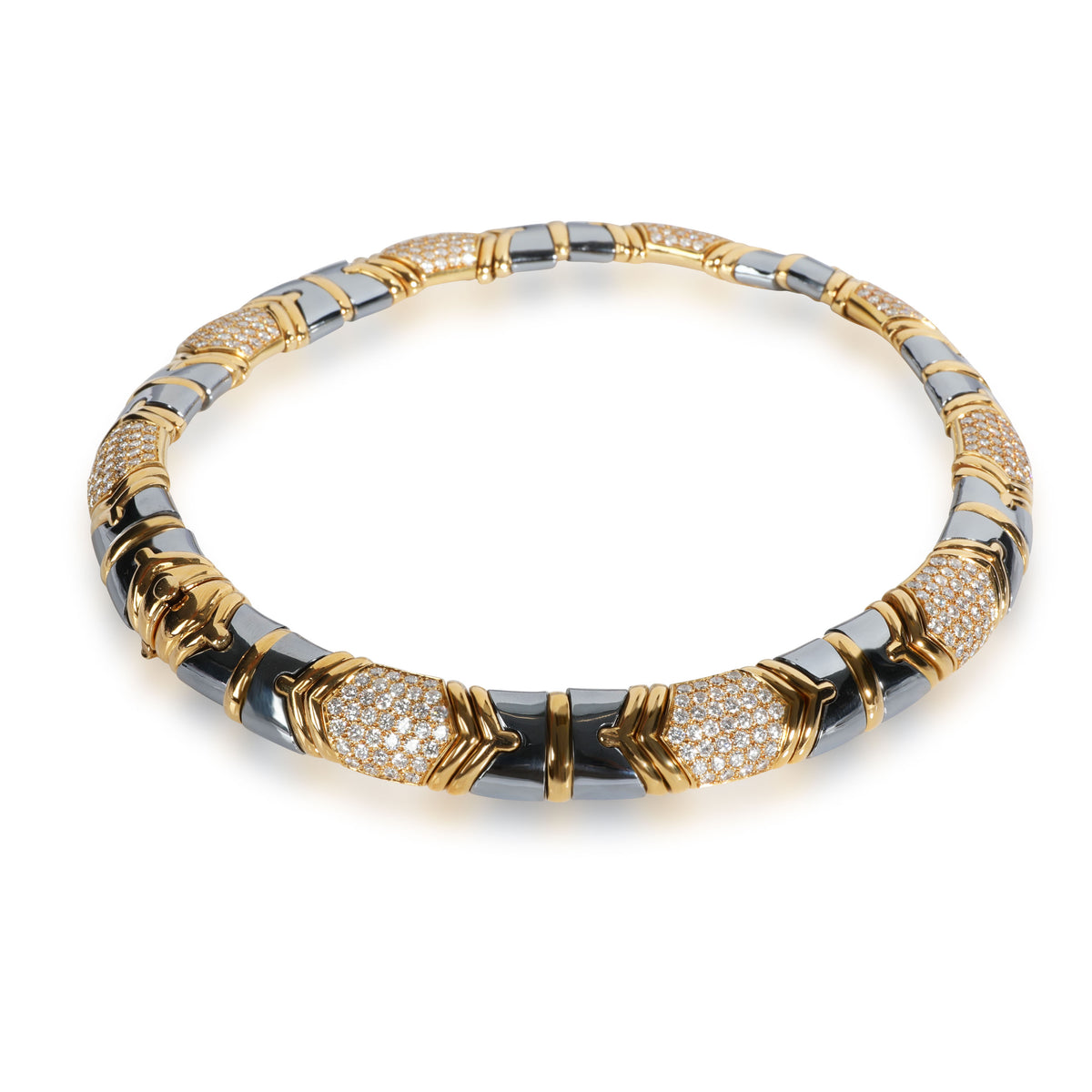 Bulgari Parentisi Diamond & Hematite Necklace in 18K Yellow Gold 11.51 CTW