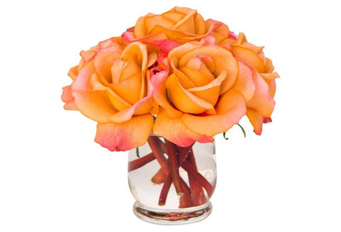 Orange Roses in Hourglass Vase #10030