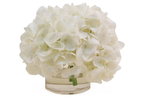 White Hydrangeas in Cylinder Vase #1303
