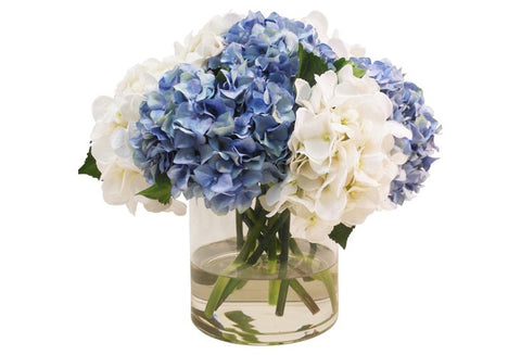 Blue and White Hydrangeas in Cylinder Vase #1432