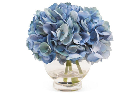 Blue Hydrangeas in Glass Vase #1448
