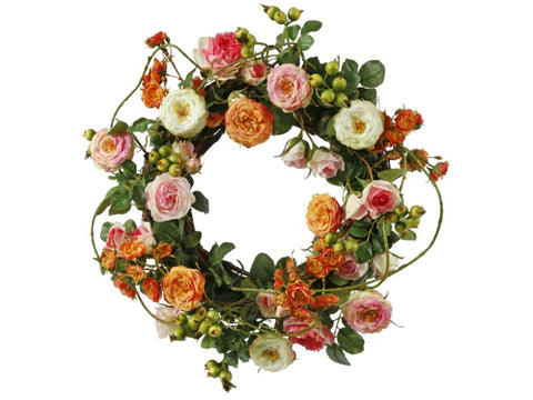 WREATH GARDEN ROSE 16'' #1P4077.MIOO