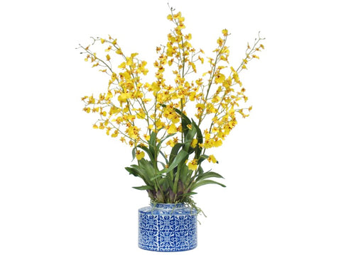 ONCIDIUM IN ANTIQUE TILE ROUND VASE #1SDP315.