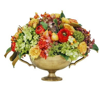 MIX FALL FLORAL IN BRASS URN  #9455.PCRD