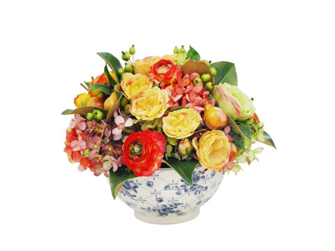 MIX FALL FLORAL IN TRELLIS BOWL #1SDP456.PRGO