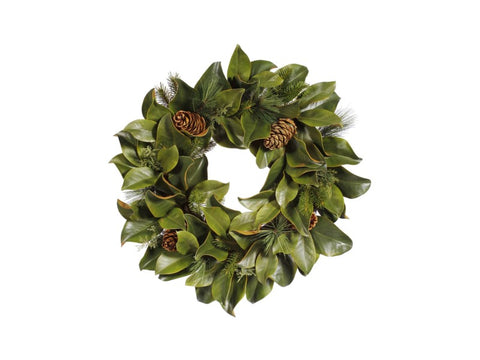 Magnolia Leaf Wreath with Pinecone 36'' #1XP10132.MIOO
