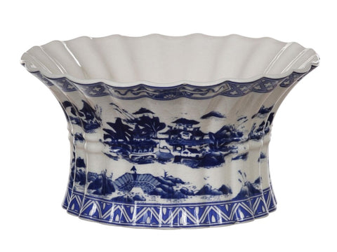 Blue and White Village Scalloped Bowl #12471200