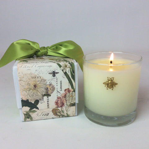 Cube Designed Candle Box with Ribbon 11 oz  Bee Embellishment #339