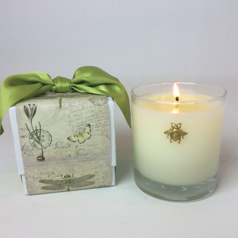 Cube Designed Candle Box with Ribbon 11 oz  Bee Embellishment #347