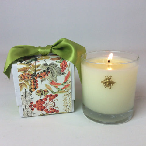 Cube Designed Candle Box with Ribbon 11 oz  Bee Embellishment #351