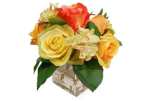 Rose and Hydrangeas in Square Vase #4050