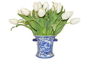 White Tulips in Blue and White Vase with Handles #51001