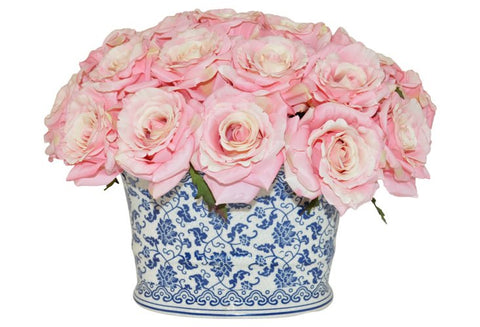 Pink Roses in Blue and White Planter #51002