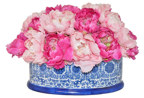 Peonies in Blue and White Planter #51004