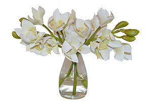 Cymbidiums in Glass Vase #51058
