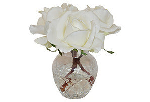 Rose Buds in Glass Vase #51061