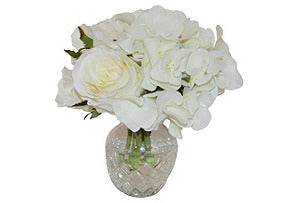 White Rose Mix in Glass Vase #51063